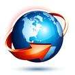 planète terre flèche - earth globe arrow