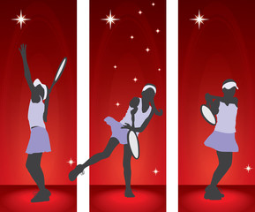 Tennis player girl silhouettes - banner vector