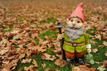 Garden Gnome In autumn