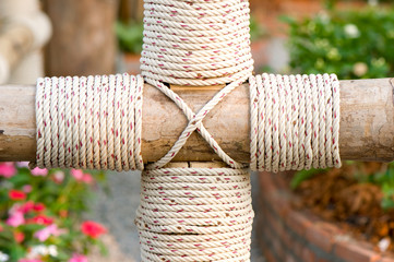 rope wrap on bamboo