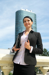 Portrait of attractive business woman in suit