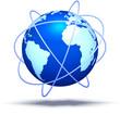 Erde & Satelitenbahnen blau