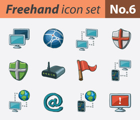 Freehand icon set - networking