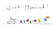 Zeichnung Hochzeitsauto Just Married