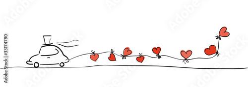 Zeichnung Hochzeitsauto mit Herzen