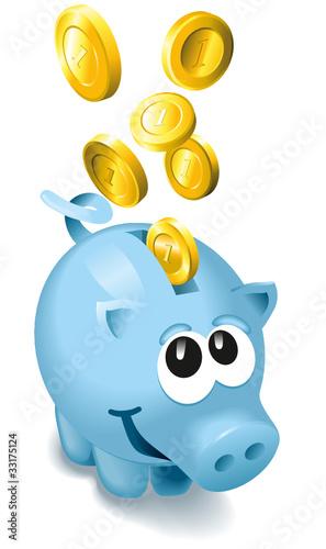 Niedliches Blaues Sparschwein mit Geld
