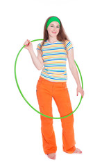 Smiling woman with hula hoop