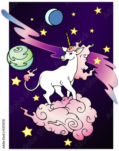 Poster Pony Space Unicorn, black background variant