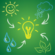 Renewable energy sources, green background