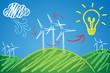 Alternative Energien, Windräder, Skizze