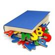 Bunte Buchstaben und Buch 1