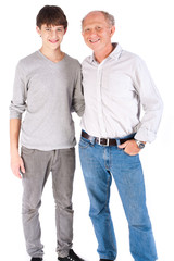 Teenager and grandfather, in studio