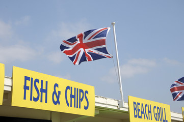 Fish and chips café on seafront, Littlehampton, Sussex