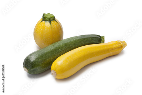 Yellow, green and round courgette
