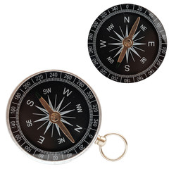 two compass closeup isolated on white background