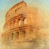 Fototapety great antique Rome - Coloseum , artwork in retro style