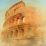 great antique Rome - Coloseum , artwork in retro style - 33186962