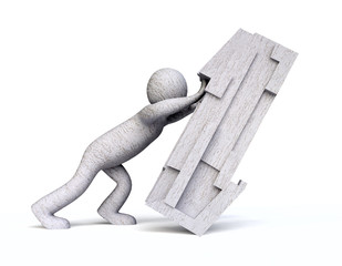 3D Man Pushing a Stone Block