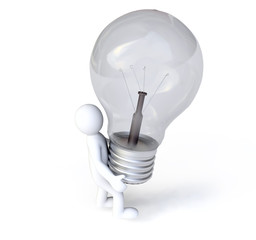 Man Holding a Lightbulb in3D