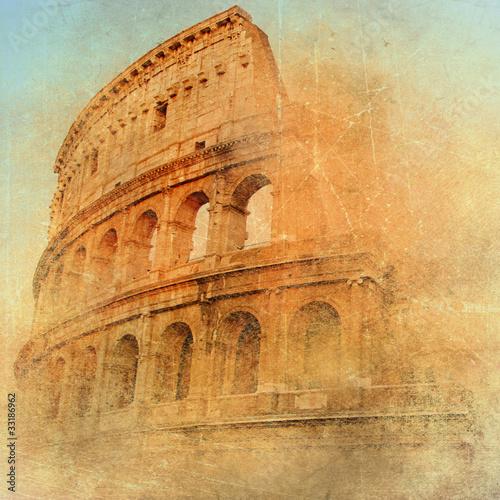 Fotobehang Rome great antique Rome - Coloseum , artwork in retro style