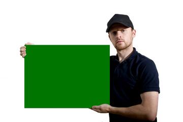 hombre con cartel de publicidad horizontal