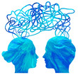 Abstract blue silhouette of couple heads thinking, relationship