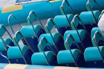 Blue seating pattern aboard pleasure craft
