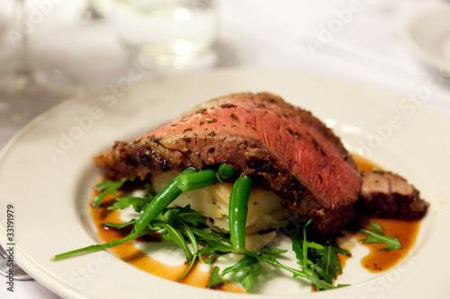 Steak beef fillet on vegetable