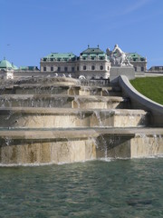 fountain in the park of the Belvedere Schloss castle in Vienna