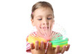 little girl playing with colorful plastic spring isolated