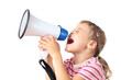 little girl in pink T-shirt screams in megaphone isolated