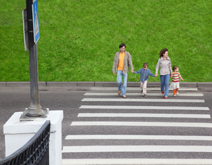 parents holds hand of little daughter and son and crossing road