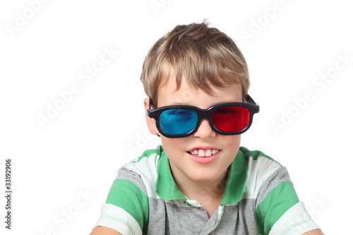 little boy in striped shirt and anaglyph glasses isolated