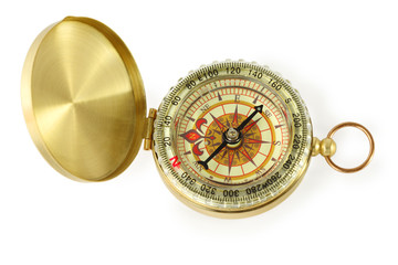 beautiful golden compass with black needle isolated