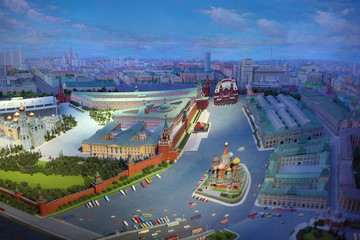 Top view of diorama of Moscow