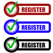 Checkbox Schild 3er REGISTER