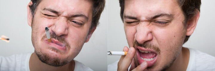Portraits of a young male smoking