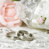 Wedding rings on nostalgic background poster