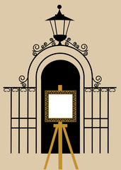 vintage gate to the park with drawing easel