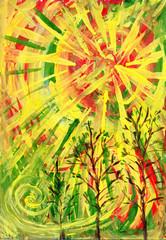 Желтое солнце. Картина, живопись.