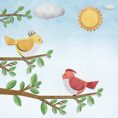 bird recycled  paper craft