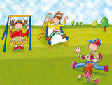playground, swing, baby running with dog on a leash poster