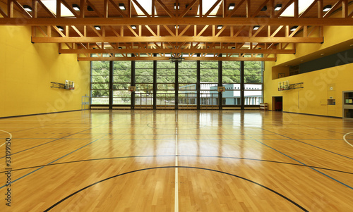 Leinwanddruck Bild public school, interior wide gym