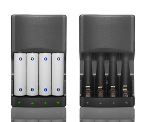 Battery charger with batteries and without batteries