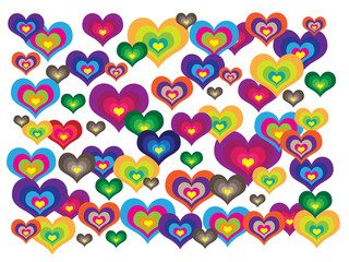 Different colorful hearts