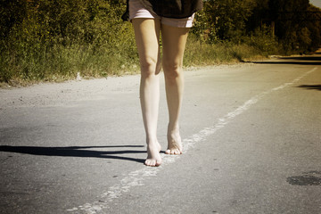 walking on  road