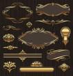Vector set of golden ornate page decor elements