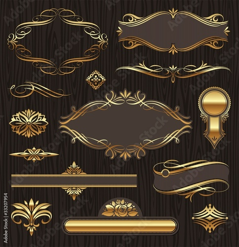 Vector set of golden ornate page decor elements
