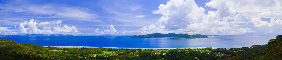 Panorama of island Praslin and Mahe at Seychelles