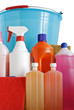 detergents, sponges and bucket